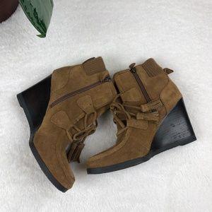 Franco Sarto Shoes - Franco Sarto Westerly Suede Leather Wedge Booties